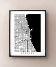 Chicago, Illinois Map - More Sizes Available -  Black and White Wall Art, Illinois Art Poster