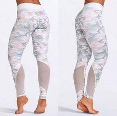 Women s SS18 Mixed Pastels Camo Print Sport Yoga Running Camo Yoga Pants b7dd94d0193e