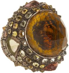 ShopStyle: Sevan Bicakci Sunflower Carved Citrine Ring