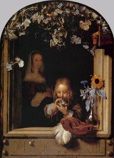 MIERIS, Frans van, the Elder  (b. 1635, Leiden, d. 1681, Leiden)       Boy Blowing Bubbles    1663  Oil on panel, 26 x 19 cm  Mauritshuis, The Hague