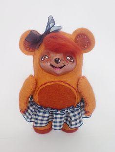 Miniature Bear Soft Sculpture mixed media Art Doll by yalipaz, $40.00