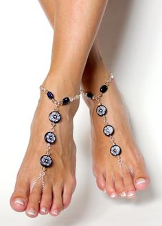 Classic Barefoot Sandals in White and Black Chained and Beaded Foot Jewelry Foot Thong Anklet