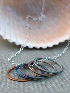 multicolor circles necklace- silver, copper, brass various patinas