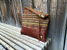 Genuine Leather // Tribal Fabric // Clutch by indigosoulcompany on Etsy