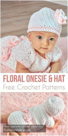 Perfect for the next baby shower, this onesie set is crocheted with easy-care quality yarn. Trimmed with fashionable flowers, it is special enough for her first photo shoot. Link for free pattern is below! Skill Level: Intermediate, Craft: Crochet, Designed by: Amanda Saladin, Crochet Floral Onesie & Hat Free Patterns – Click for free pattern