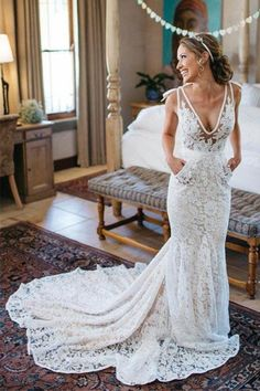 Wonderful Perfect Wedding Dress For The Bride Ideas. Ineffable Perfect Wedding Dress For The Bride Ideas. Backless Lace Wedding Dress, V Neck Wedding Dress, Lace Mermaid Wedding Dress, White Wedding Dresses, Mermaid Dresses, Wedding Attire, Dress Lace, Lace Chiffon, Bride Dresses