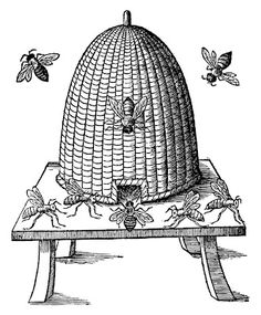 Medieval woodcut of a beehive.