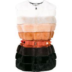 Fendi fur belted gilet ($10,775) ❤ liked on Polyvore featuring outerwear, vests, fur waistcoat, belted vest, fur vest, gilet vest and fur gilet