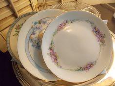 PLATES Set of Three Mismatched / by VintageCreativeAccen on Etsy
