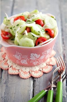 cucumber, tomato & onion salad........I eat this alllll the time! YUM : )