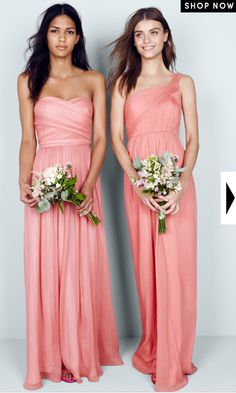 "J.Crew Bridesmaids in ""Arabelle"" and ""Lucienne"" (Bright Coral)  the color is a little too muted, maybe brighter coral but the cuts are so pretty"