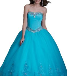 Greenbloom Women's Strapless Applique Lace Back Corset Sweet 16 Quinceanera Dresses 14 US Turquoise. 1.Please choose a right size from the size chart on the left. If the size doesn't fit you well, please contact us in advance and tell us your exact measurements: bust,waist,hips,hollow to floor without shoes,the heel of your shoes and your height from head to toes. 2.The dress can be customized to be the color you want. 3.The dress doesn't have any accessories, which are shown in the...