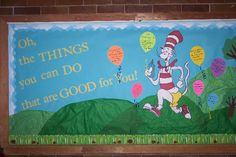 Health Inspiration Oh, the Things You can Do that are Good for You! A cute bulletin board that goes with a book about staying healthy. Would be a cute board for March is Reading Month/Dr. Cafeteria Bulletin Boards, Dr Seuss Bulletin Board, Office Bulletin Boards, School Nurse Office, School Nursing, School School, School 2017, School Stuff, Nutrition Bulletin Boards