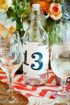 Water bottle table numbers...would be cute with wine bottles too!