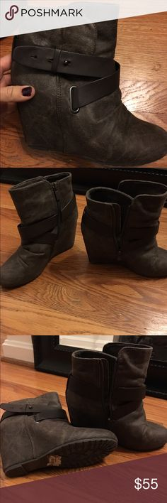 ALDO taupe/brown wedge booties Excellent condition, worn only a couple of times. Can still see $70 sticker on bottom Aldo Shoes Ankle Boots & Booties