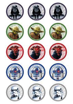 c - Printable Star Wars - Ideas of Printable Star Wars - www. Star Wars Cupcake Toppers, Star Wars Cupcakes, Bolo Star Wars, Star Wars Cake, Theme Star Wars, Star Wars Decor, Creation Bougie, Decoracion Star Wars, Star Wars Party Supplies