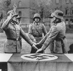 Members of a military unit swear allegiance to Hitler., Germany.