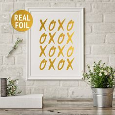 "Gold Foil Print ""XOXO"" Wall Decor, XO Art Print, Hugs Kisses Art Print, Gold Minimalist Print, Bedroom Wall Decor, Gold Typographic Print"