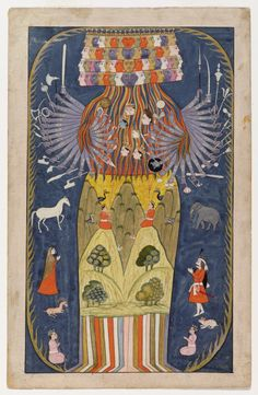 Vishvarupa: Krishna in seiner kosmischen Form Indien,. Krishna, Art Indien, Tantra Art, Creation Myth, Jugendstil Design, Les Religions, Indian Folk Art, Oriental, Indian Paintings