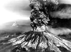 Aerial view of eruption of Mount St. Helens. Skamania County, Washington. May 18, 1980.