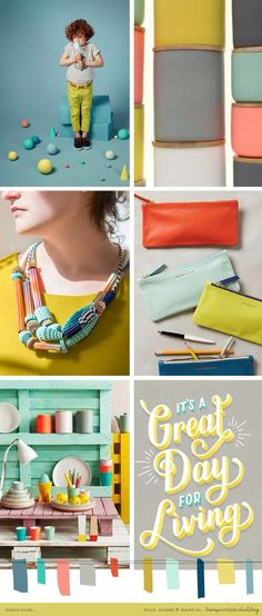 yellow + grey + aqua + coral + mint