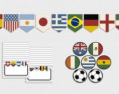 Printable World Cup Country Flags Party Decor -- Vintage, Pennant Banner, Cupcake Toppers, Tent Cards, Soccer, Flags of the World, Europe