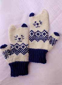Free pattern for Norwegian Kitten Mittens Kitten Mittens, Baby Mittens, Knit Mittens, The Mitten, Baby Knitting Patterns, Free Knitting, Fingerless Gloves Knitted, Knitted Hats, Fair Isles