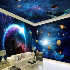 Ways paint murals on walls and their easy and applicable manufacturing techniques - Homemidi 3d Wall Murals, Bedroom Murals, Bedroom Themes, Ceiling Murals, Solar System Room, Galaxy Bedroom, Music Studio Room, Galaxy Theme, Star Ceiling
