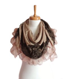 Infinity Scarf , Brown Knit Fashion Scarves , Knitted Lace Scarf , Women's Fashion Accessories