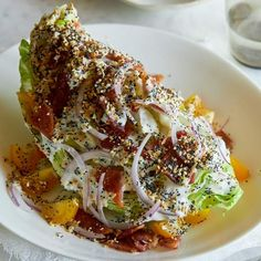 A recipe for Everything Bagel Seasoning Wedge Salad by Spoon Fork Bacon - bacon, veggies, tomatoes, buttermilk ranch dressing recipe. lj