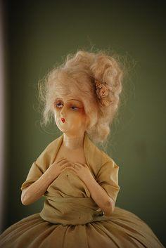 Vintage half doll pincushion, THAT LOOKS LIKE A ZOMBIE.......ug