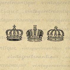 Crown Set Printable Digital Download Collage Sheet Graphic Royal Image Vintage Clip Art Jpg Png Eps  HQ 300dpi No.623 @ vintageretroantique.etsy.com #DigitalArt #Printable #Art #VintageRetroAntique #Digital #Clipart #Download