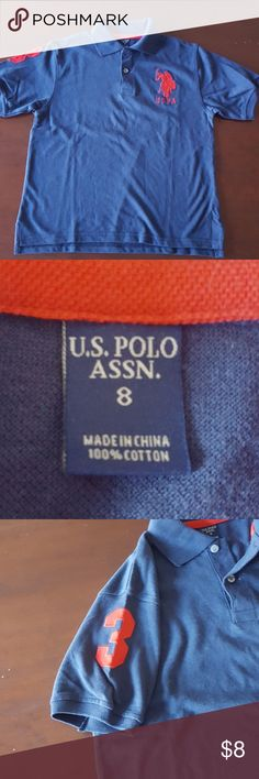 U.S. Polo shirt In excellent used condition!  U.s. Polo Assn. Navy polo style shirt, size 8 U.S. Polo Assn. Shirts & Tops