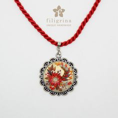 Handmade pendant FIRE FLOWER with floral motif in silver tone round filigree metal bezel, 33mm, polymer clay filigree applique technique