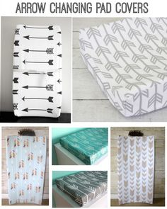 rustic arrow themed baby shower | Arrow themed changing pad covers for a rustic baby nursery