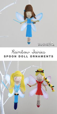 Rainbow Magic fairy spoon doll ornaments. We could use these to make sugar skull's for Day of the dead too!