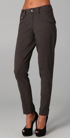 L.A.M.B. Cuffed Skinny Trousers in Charcoal