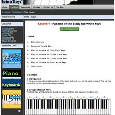 Free Piano Lessons for Beginners  #1 - Learn the layout of the piano keyboards at http://www.zebrakeys.com/lessons/preparation/pianolayout/?id=1