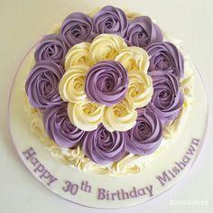 Purple and Cream Rosette Swirl 30th Birthday Cake