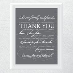 thank you wedding sign, PRINTABLE. $13.50, via Etsy. #wedding #thankyou #etsy Wedding Thank You, Friend Wedding, Wedding Signs, Wedding Favors, Thank You Sign, Thank You Cards, Wedding Events, Weddings, Wedding Inspiration