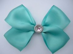 Tiffany Blue Hair Bow W/ Sparkle Gem by EmazingThreads on Etsy, $9.99