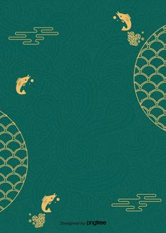 Traditional Fish Patterns The New Green Retro Poster Background Chinese Patterns, Fish Patterns, Japanese Patterns, Chinese New Year Poster, Chinese New Year Design, New Years Poster, Retro Background, Background Patterns, Vector Verde