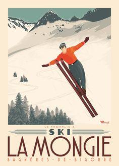 © Marcel LA MONGIE Tremplin à Ski www.marcel-travelposters.com