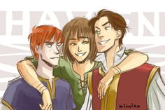 """bewarethejabberjay:  minuiko:  Leaders of Haven! Merric, Kel, and Neal :)  Lawl Merric looks like my little brother. Didn't he have curly hair, though? Or was that Cleon? Or both?    Cleon had the curls, Merric is described as having the """"reddest, straightest hair"""" Kel's ever seen :)"""