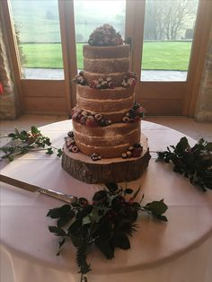 Naked Cake- Wedding Cake @TheKingscoteBarn