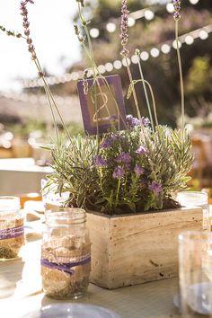 Rustic, lovely lavender planter centerpieces