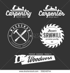 Carpenter design elements in vintage style for logo, label, badge, t-shirts. Carpentry retro vector illustration. - stock vector