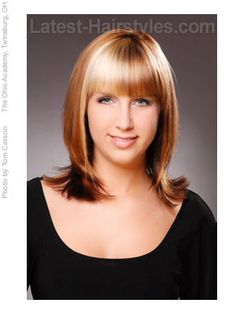 Soft rounded hair with eye brow length bangs