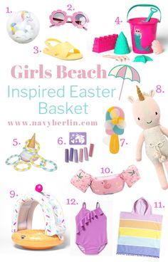 Easter Girls Beach Inspired Easter Basket Geschenkideen Acne and its treatm Baby Easter Basket, Easter Baskets For Toddlers, Easter Gifts For Kids, Easter Ideas, Easter Projects, Easter Table, Easter Party, Easter Decor, Summer Gift Baskets