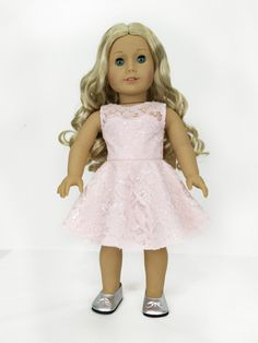 Pink Lace Dress for American Girl Dolls.